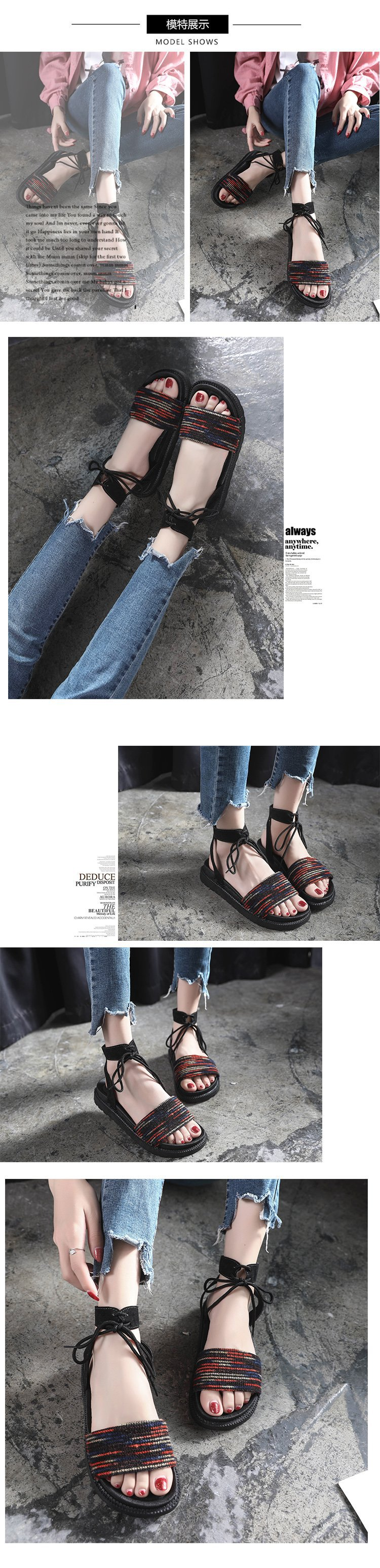 Casual Lace-up Rome Gladiator Women Sandals Solid Ankle Strap Shallow Women Shoes Summer Fashion Flat Sandals 23
