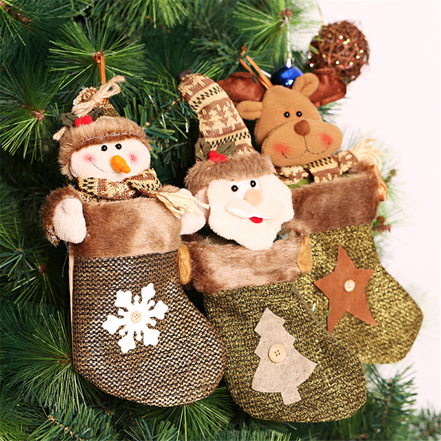 Christmas Tree Fillers.Us 19 9 Cheap 3pcs Artificial Christmas Tree Ornaments Santa Snowman Reindeer Christmas Stocking Filler Gifts Socks Chrismas Decorations In Trees