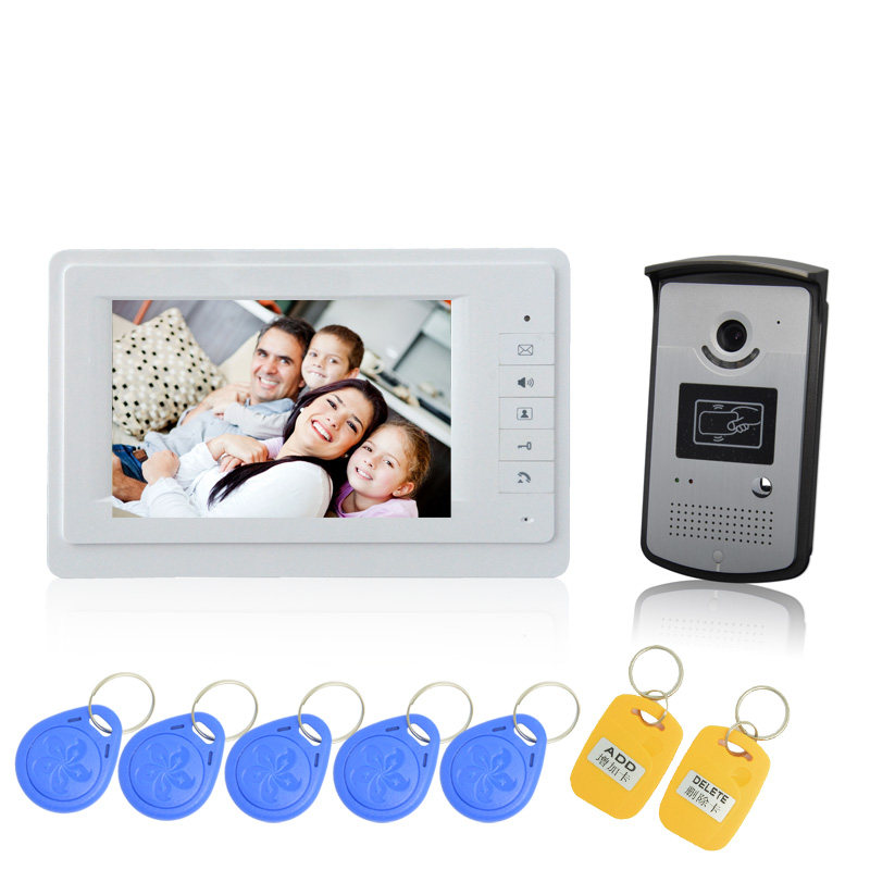 Hot sale 1 to 1 7 inch screen RFID Card Door Unlock Video door phone Intercom system For visitor talk back access control system rfid card access control 7 inch video door phone system with rfid card reader 200 users wired door bell door video intercom