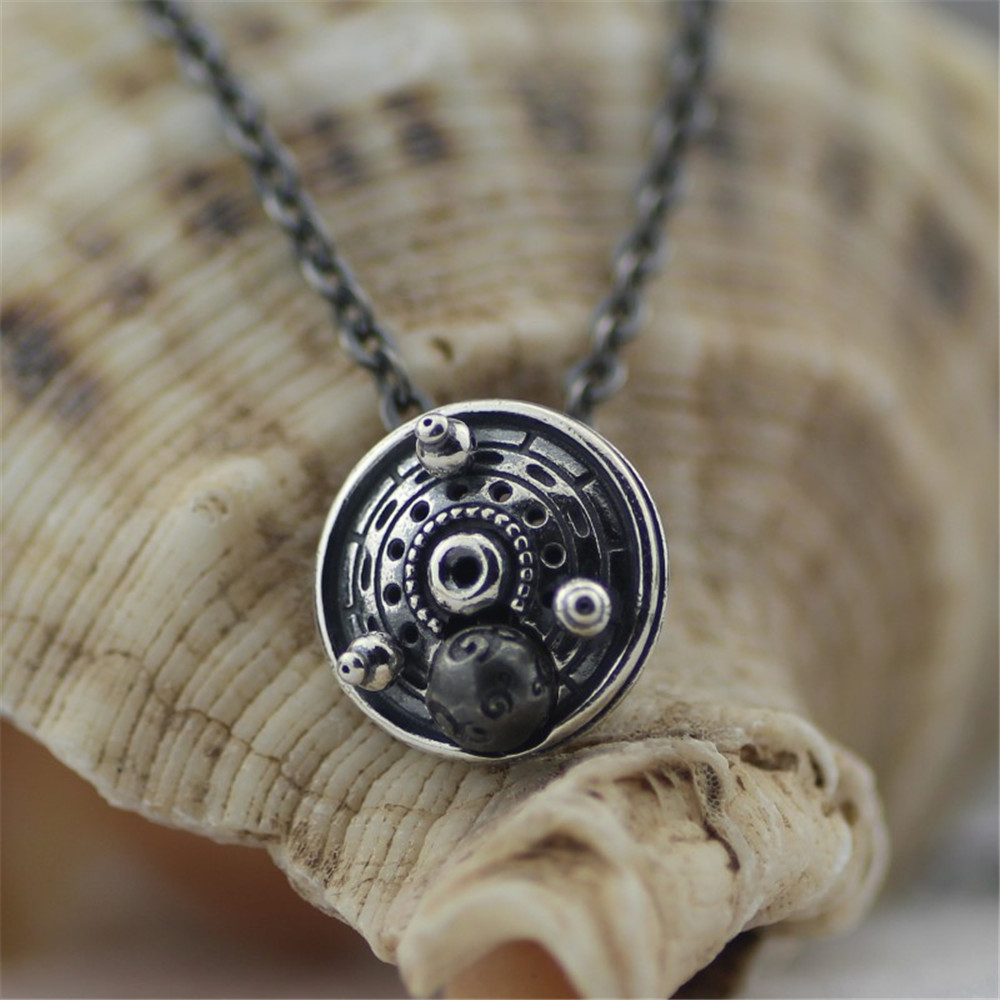 Authentic 925 Sterling Silver Black Chain Necklace Pendant Without Beads beads Fit Troll Necklace Jewelry 925 sterling silver women lapis beads yellow chalcedony lotus leaves pendant necklace rope chain thai silver jewelry ch057271