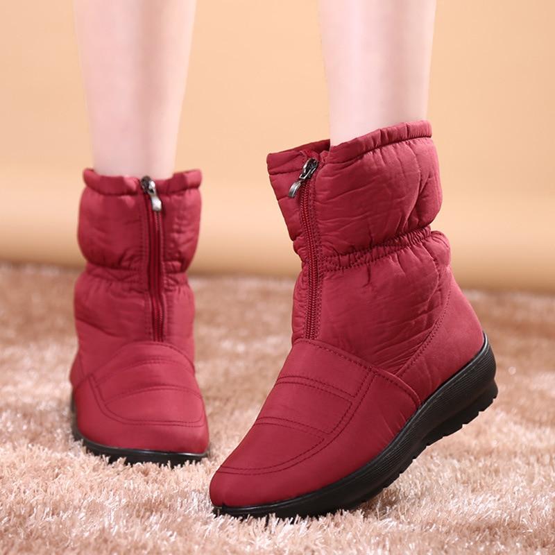 Casual marrón Planas Botas Invierno Impermeable Térmicas Mujeres Nieve De Zapatos Negro Moda Botines Otoño azul Niza Antideslizantes Mujer rojo WTHqxnEq