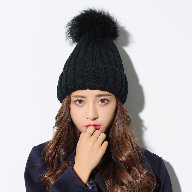 Autumn and winter new fox hair ball youth knitted beanies Solid color wild warm knitted hat for women 4pcs new for ball uff bes m18mg noc80b s04g