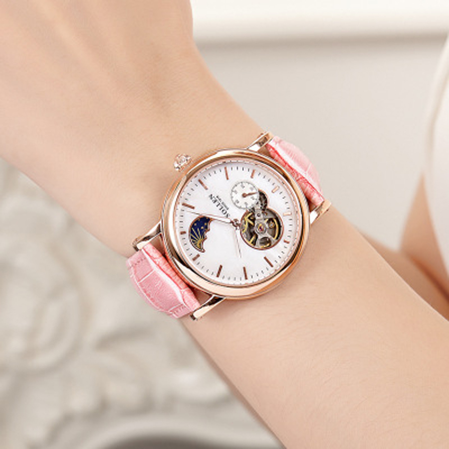 SOLLEN Fashion Women Mechanical Watches Top Brand Luxury Famous Automatic Watch Women Leather Strap Lady Wrist Watch Pink