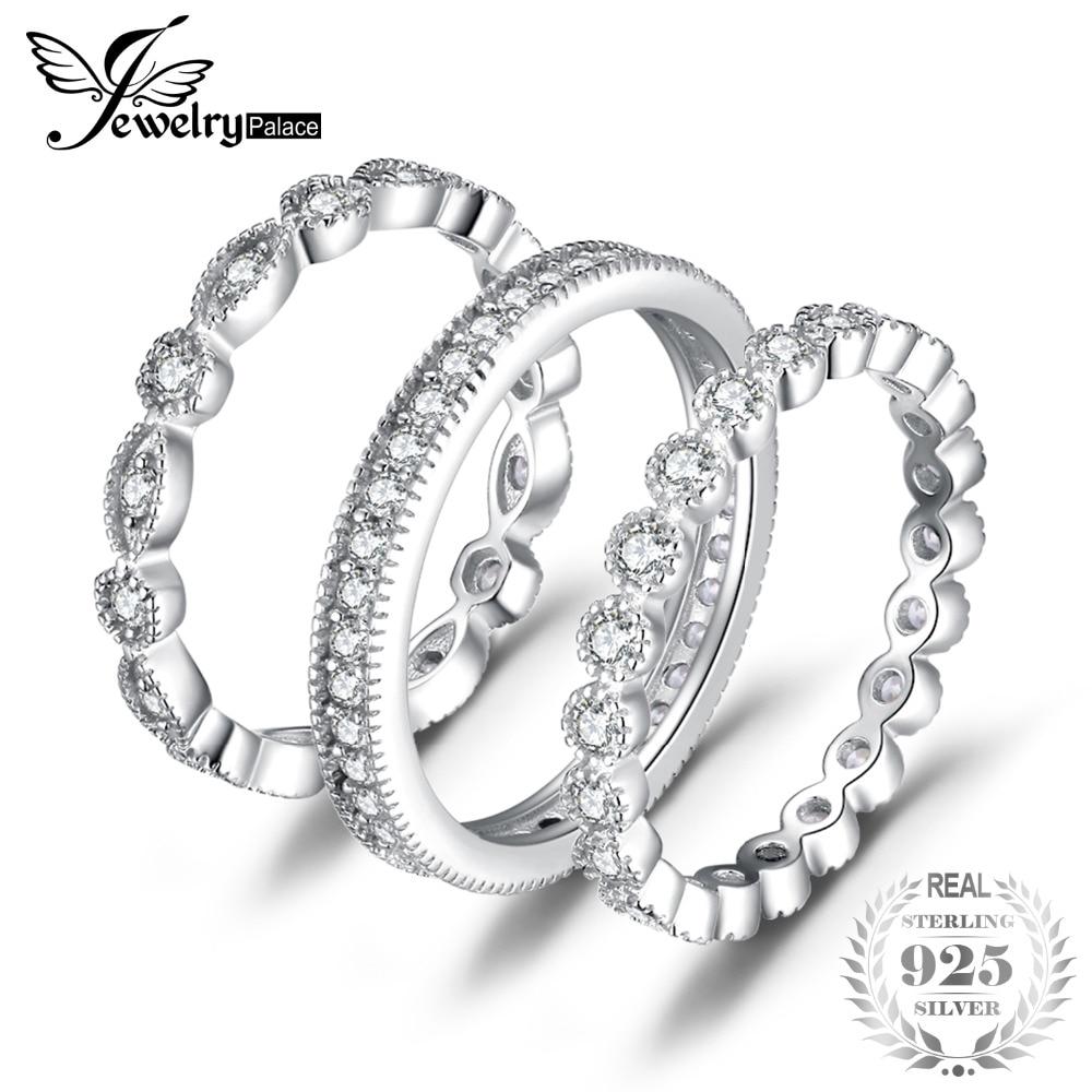 JewelryPalace Mode 2.15ct Zircons 3 Eternity Band Anneaux Pour Femmes Pur 925 En Argent Sterling Anneau De Mode Newes Bijoux