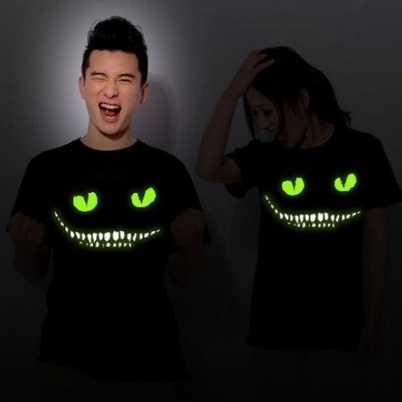 Mr.Kooky Black Noctilucent Print Dark Devil Cheshire Cat Night Light Short Sleeve Men's Women's Novelty Funny Luminous   T  -  shirt