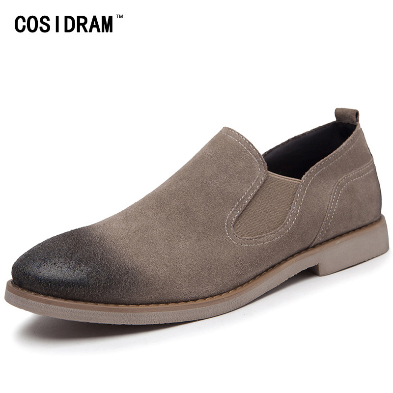 COSIDRAM Suede Men Casual Shoes Genuine Leather Men Shoes New 2017 Slip On Male Footwear British Style Spring Autumn RMC-047