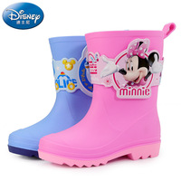 Disney children's rain boots 3D cartoon Mickey mouse boy water shoes girls Minnie rain boots kids Anti skid baby rubber shoes