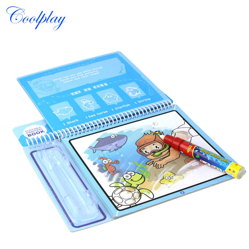 Water Coloring Do... Themed Boards /& Refillable Water Pen Coolplay Marine Life