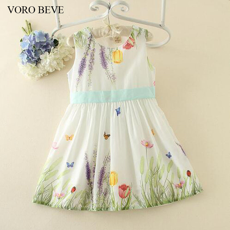 VORO BEVE New Summer Fashion Girl Sundress Baby Girl Dress Waist Butterfly Tie Cotton Print Sress Fashion Kids Clothes 2014 new fashion fall european american style flower butterfly print sundress baby