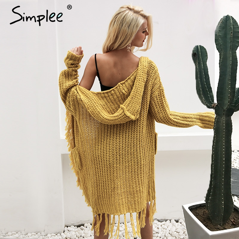 Simplee Knitting hooded long cardigan sweater women jumper Long sleeve knitted cardigan female Tassel winter pull knit sweater