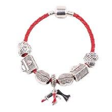 65691f473a3b Couqcy labios rojos corazón colgante pintalabios serie DIY conveniente para  mujeres joyería pulsera tendencia