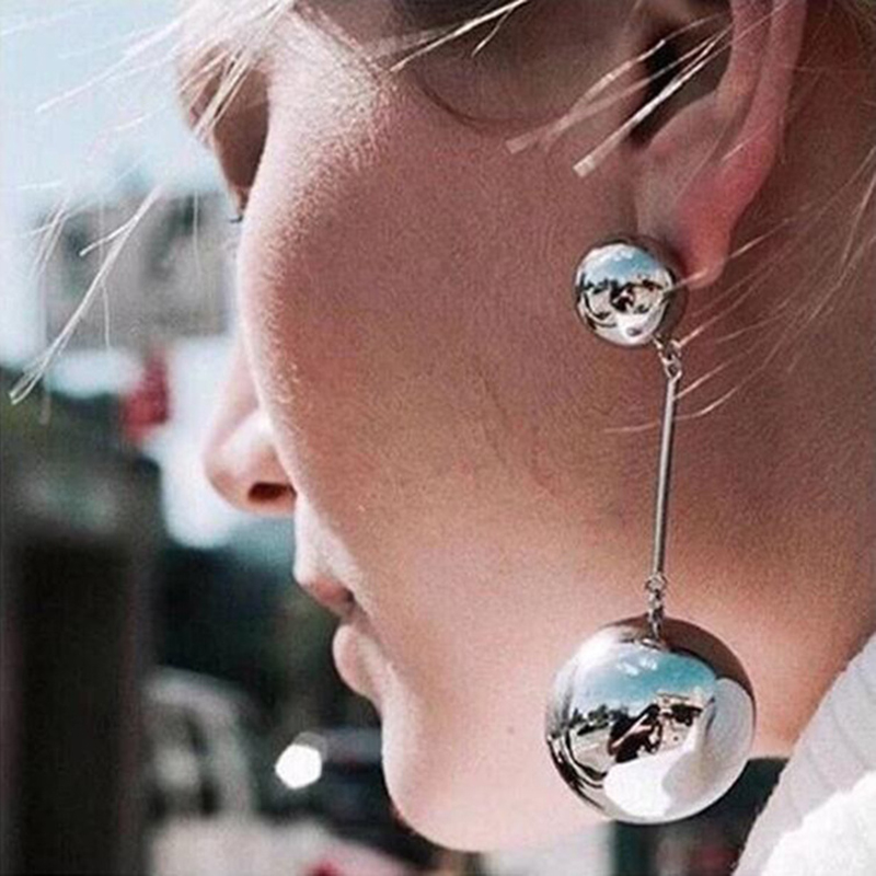 <font><b>Sexy</b></font> Oversize Large Round Ball <font><b>Earring</b></font> For <font><b>Women</b></font> Exaggeration Gold Sliver Colour Geometric Statement Big <font><b>Long</b></font> Dangle <font><b>Earrings</b></font> image