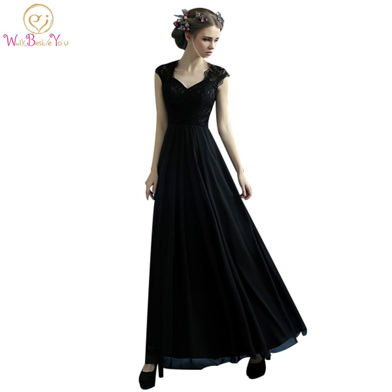 100 Real Image Little Black Dresses African Formal Lace Chiffon Cheap Long Evening Dresses Cap Sleeves Party Gowns High Quality in Evening Dresses from Weddings Events
