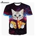 Raisevern 2017 Новый Galaxy Пространство 3D Майка Прекрасный Котенок Cat есть Пицца Taco Смешные Топы Тройник С Коротким Рукавом Летом Рубашки Плюс размер