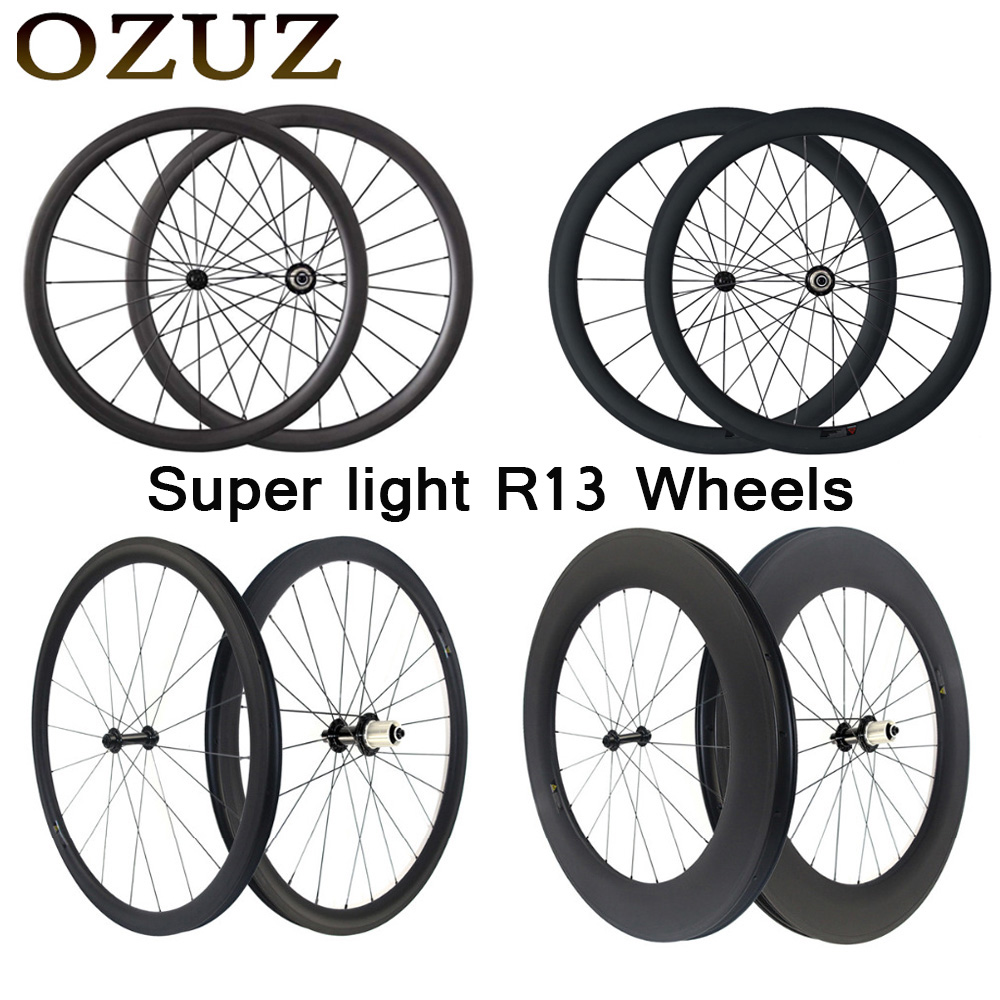 Ultra Light 24mm 38mm 50mm 88mm Carbon Road Wheels 23mm Width Clincher Tubular 3k Wheelset 700c Light Weight Powerway R13 Hubs