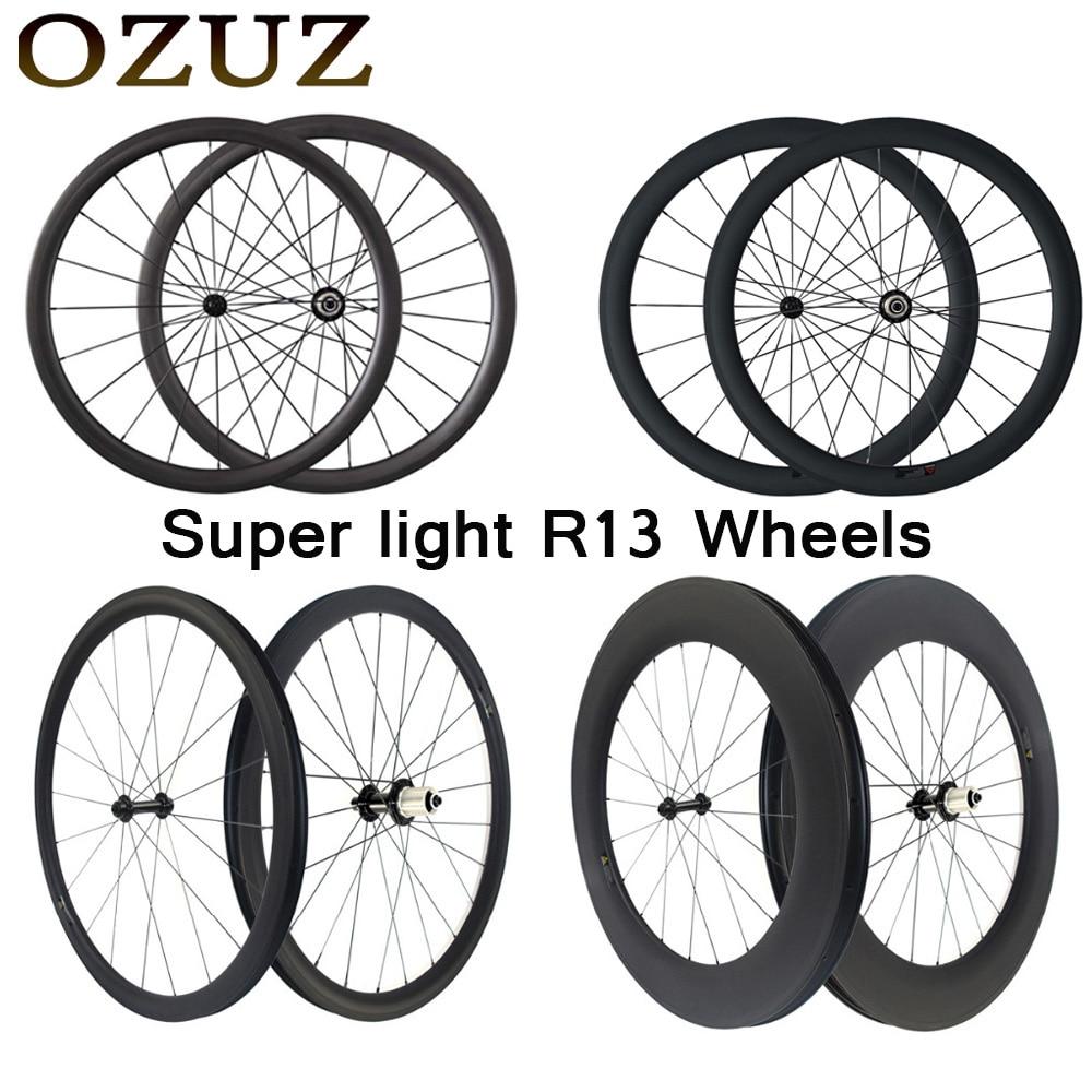 Ultra lumière 24mm 38mm 50mm 88mm carbone route roues 23mm largeur pneu tubulaire 3 k roues 700c fixe powerway r13 D'impôt comprennent