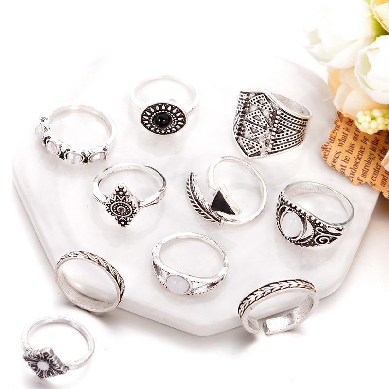 10 יח'\חבילה אופל עלה אבן Midi טבעת סטים חדש 2020 אופנה וינטג 'קריסטל קריסטל Knuckle טבעות לנשים Anillos Mujer תכשיטים