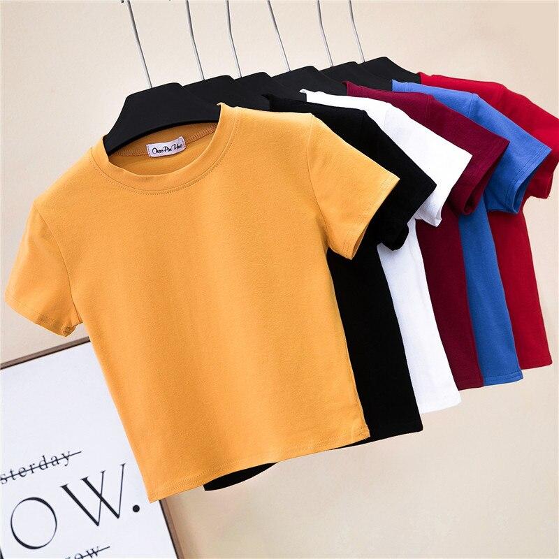 Crop koszulka top kobieta trwała bawełna O-Neck z krótkim rękawem t-shirty dla kobiet wysoka talia szczupła krótka, sportowa koszulka Blanc Femme 2