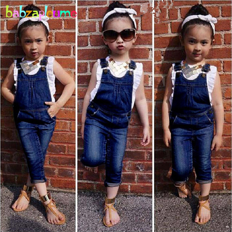 Autumn Fashion Kids Girls Denim Overalls Tracksuit Trousers+Vest 2pcs girls suit Children Sport Pants Baby Costume Clothes A035 afs jeep autumn man jeans mens straight trousers fashion male jean casual long trousers mans clothes denim botton plus size 42