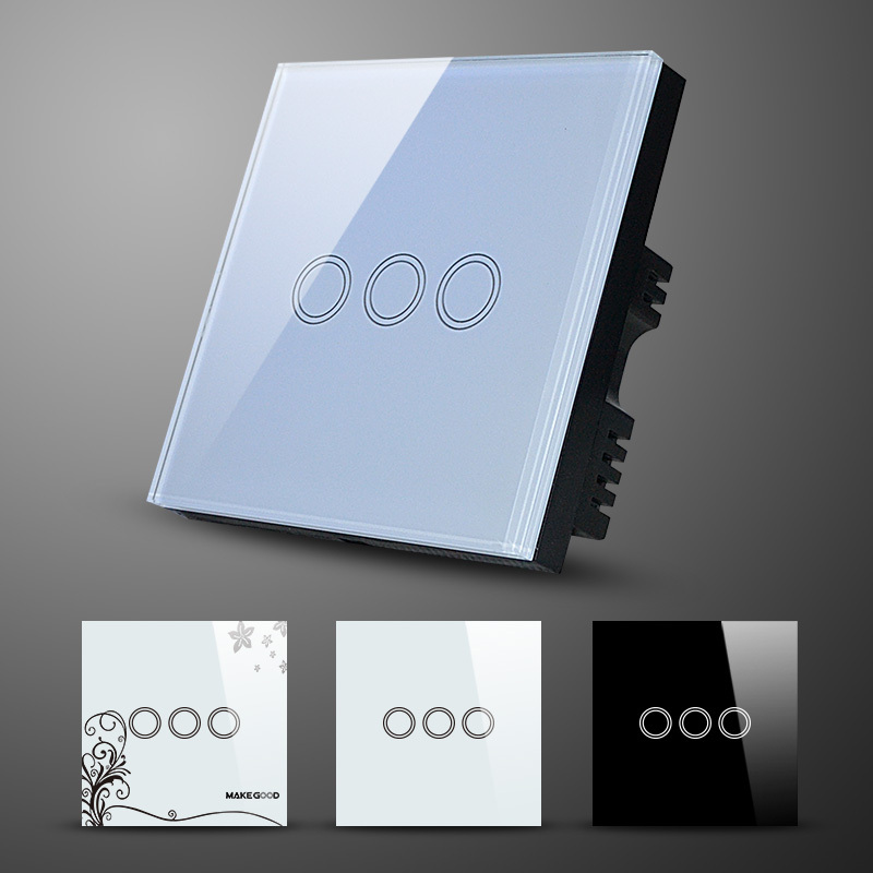 Home Automation Light Switch,Walll Switch,Glass Panel 3 Gang 1 Way ...
