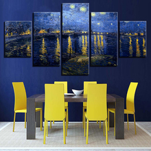 Modular Picture Print Canvas 5 Panel Van Gogh Painting Framework Starry Night On The Rhone Vintage Home Decoration Poster van gogh decoracao para casa van gogh painting starry night diamond painting eigen foto rotterdam diamond painting christmas