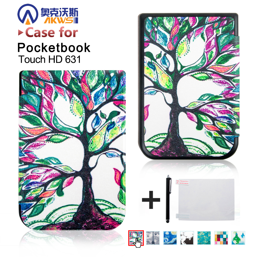 for 2016 pocketbook touch hd 631 ereader smart cover case +screen protector + stylus e reader case for pocketbook touch hd case cover coque shell funda hulle custodie