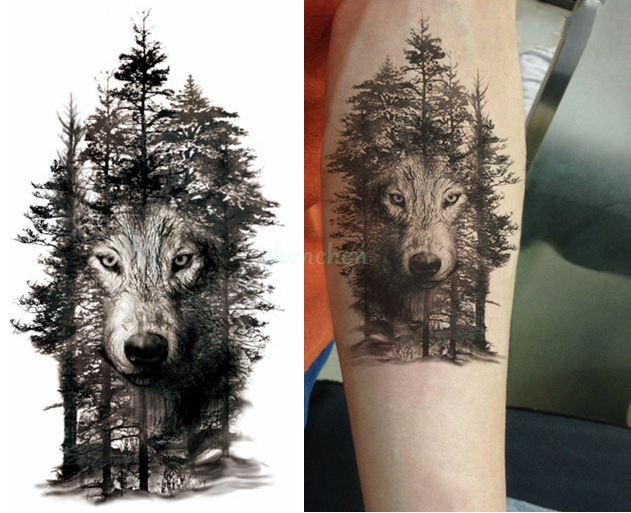 Impermeable Tatouage Temporaire Autocollant Loup Foret Arbre Animal