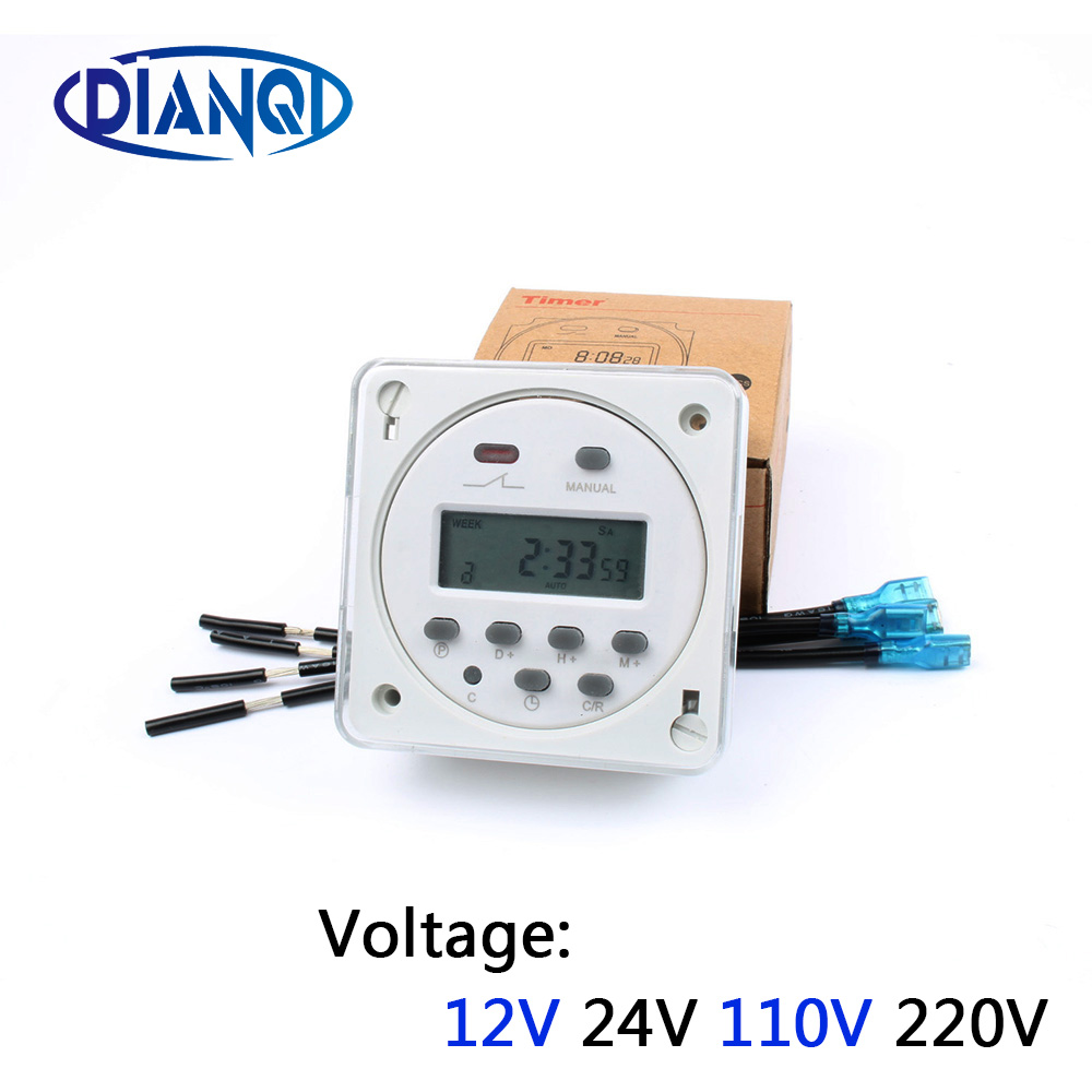 CN101A with cover 4 pcs wires Digital LCD Power Programmable CN101 TIMER Time Switch Relay with protective cover weekly 7days thc15a zb18b timer switchelectronic weekly 7days programmable digital time switch relay timer control ac 220v 30a din rail mount