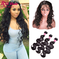 360 Lace Frontal Closure With Bundles Indian Virgin Hair Body Wave Human Hair With Closure Pre Plucked 360 Frontal With Bundles