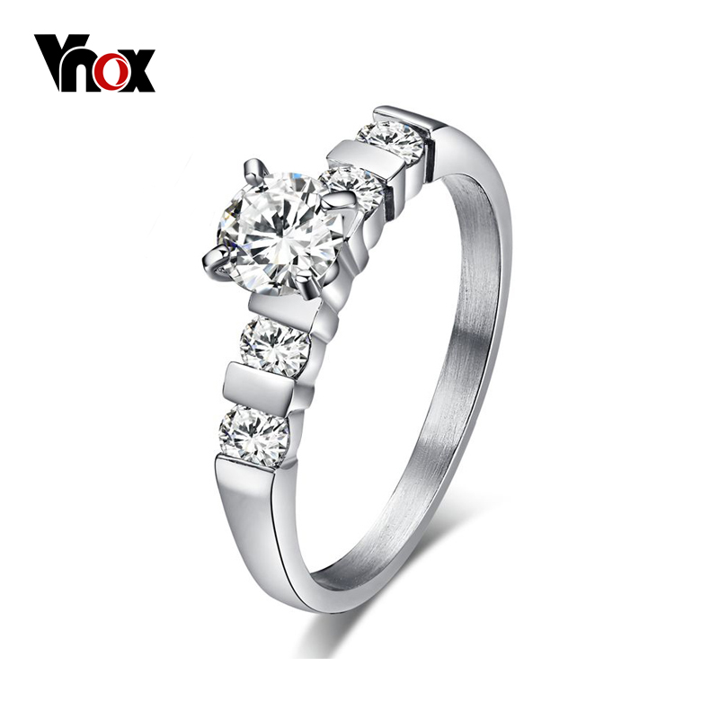 Vnox Eternity Love Engagement Ring Bridal for Women Stainless Steel Cubic Zirconia Wedding Rings logo engraved titanium steel gold silver love rings for women men cubic zirconia engagement wedding rings anillos bague femme