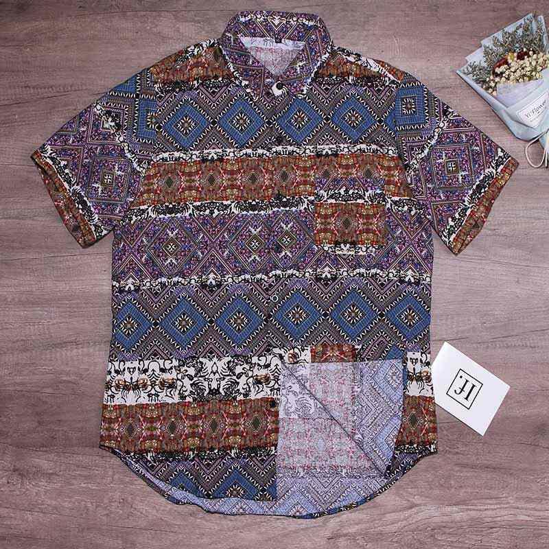 男性の花柄半袖ビーチハワイシャツボタンメンズシャツトップスプラス 5XL 2019 夏ルース男性ストリート服