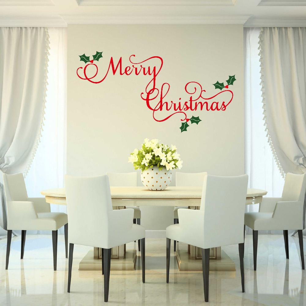 Merry Christmas Wall Decal Holiday Decor Christmas Vinyl Decal Wall Decors Home Stickers 680MX ...