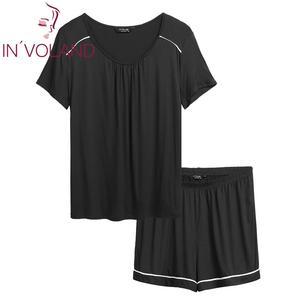 Image 5 - Women Plus Size Sleepwear Pajamas Scoop Neck Short SleeveTops Elastic Waist Shorts Summer Pajama Set Nightwear