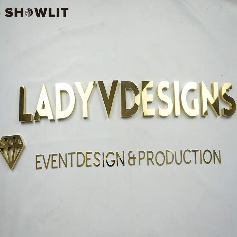 Laser Cut Small Mirror Polished Golden Letter Signs For Company