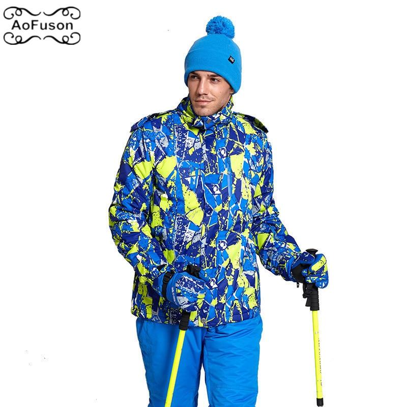 Professionnel Ski Snowboard veste neige coupe-vent imperméable chaud randonnée manteau respirant Ski à capuche géométrique veste hommes M-4XL