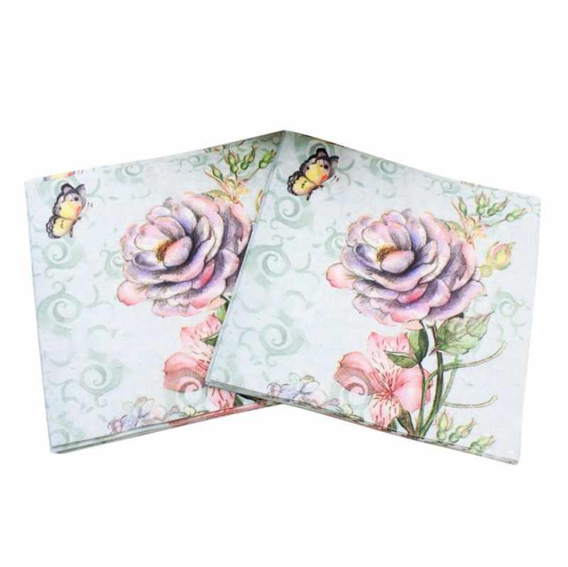 Kecantikan Tisu Cetak Fitur Dekorasi Pink Serbet Kertas untuk Acara dan Pesta 33 Cm * 33 Cm 20 Buah/Bungkus/ banyak Tabel Serbet
