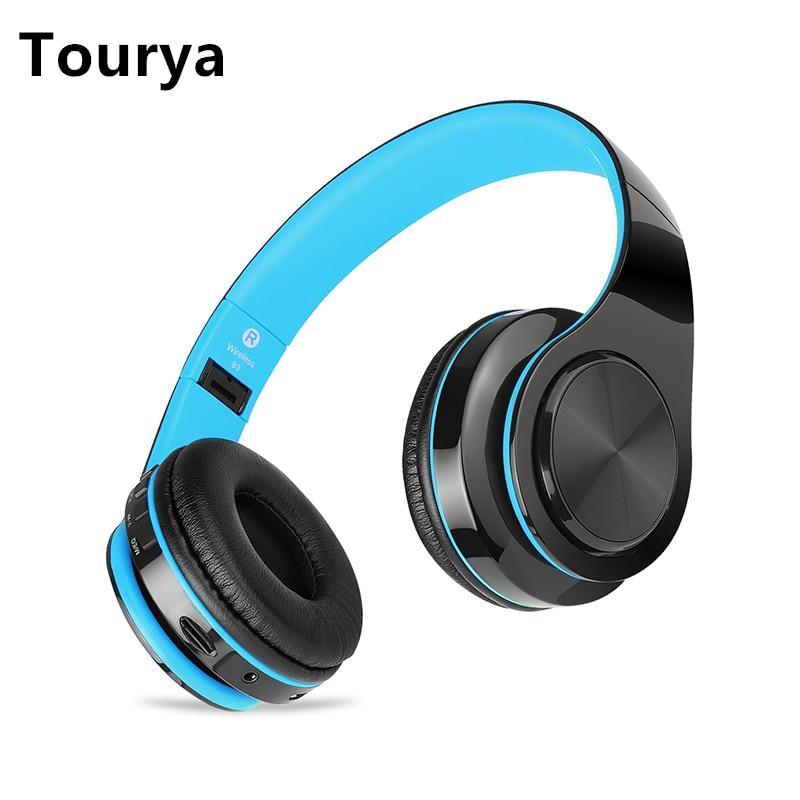 Tourya B3 Bluetooth ყურსასმენები უსადენო სტერეო ყურსასმენი ყურსასმენი მიკრო მხარდაჭერით TF ბარათით FM რადიო მობილური ტელეფონის კომპიუტერისთვის