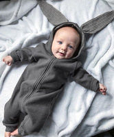 2017 New Arrivals Lovely Rabbit Ears Hat Gray Long Sleeve Zipper Baby Jumpsuits Infants Rompers Baby