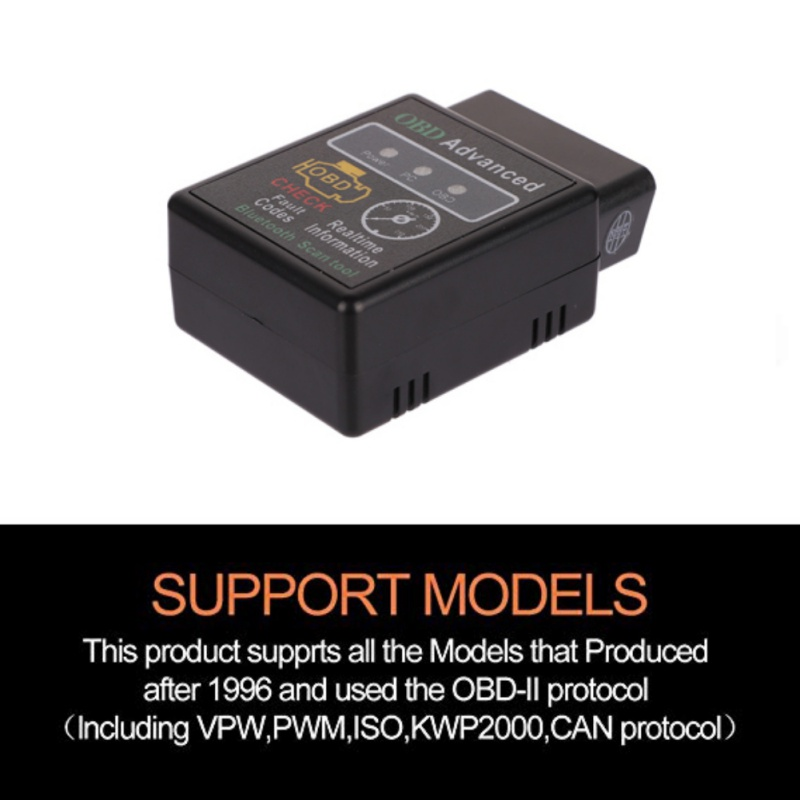 V02H2-1 V1.5 OBD2 EML 327 Bluetooth 2.0  Scanner HH ELM 327 Bluetooth Smart Car Diagnostic Interface