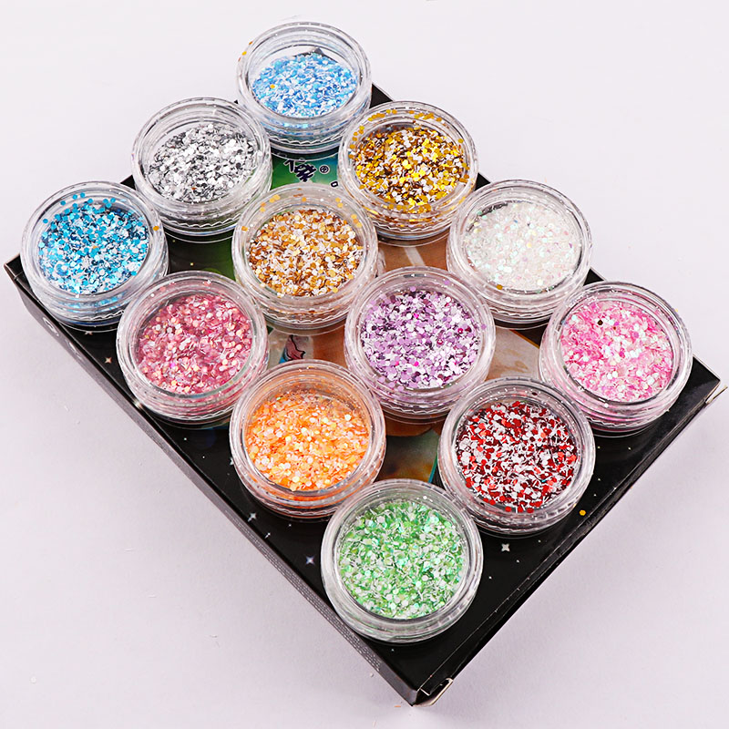 12 Colors Colorful Snowflake Nail Sequins Shining Round Shape Nail Glitter Powder Tips Manicure Nail Art Decoration 24pcs lot 3d acrylic nail glitter powder sequin carving pattern power dust round shape 3d nail art decoration manicure nail tool