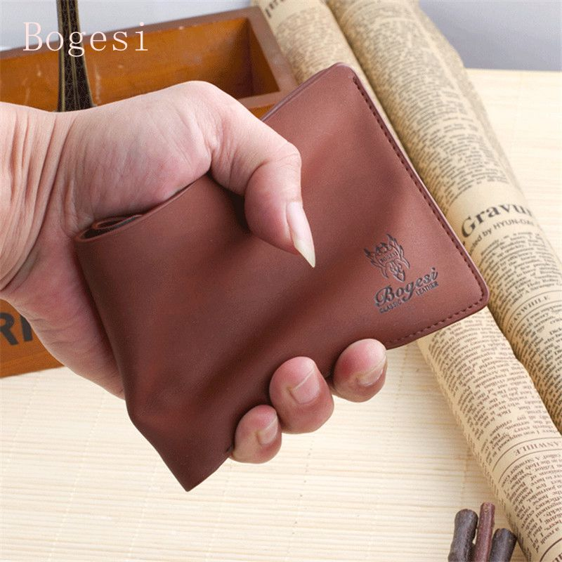 Bogesi Men's Wallet With Coin Pocket Scrub Short Plain Men Letters Wallets Luxury Brand Male Purse With Card Holder Dollar Price bogesi men s wallets famous brand pu leather wallets with wallet card holder thin slim pocket coin purse price in us dollars