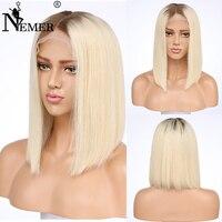 Короткий Боб полное кружева натуральные волосы парик 130% плотность для черный Для женщин бразильский Волосы remy Glueless предварительно сорвал с