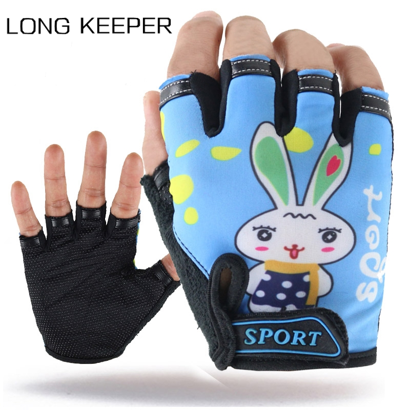 Kids Cartoon Half Finger Gloves 5-10 Years Child Outdoor Sports Bicycle Cycling Mitten Boys Girls Non-Slip Breathable Guantes(China)