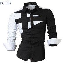 FGKKS 2017 Новый Длинным Рукавом Тонкий Мужчины Рубашка Марка новый Модельер Высокое Качество Твердые Мужской Clothing Fit Бизнес рубашки