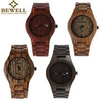 Bewell Luxury Wood Male Wristwatch Fashion Watch Men Analog Quartz Movement Date Waterproof Wooden Watches Relogio