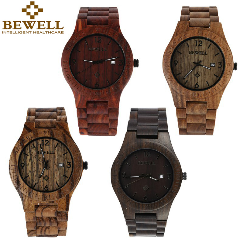 Bewell Luxury Wood  Male Wristwatch Fashion Watch Men Analog Quartz Movement Date Waterproof Wooden Watches relogio bewell luxury brand wood watch men analog digital movement date waterproof male wristwatches with alarm date relogio masculino