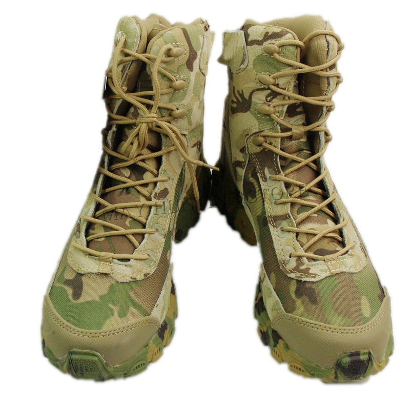High Top Camo Tactical Boots Camping Hiking Hunting Boots Climbing Desert Shoes CP Multicam camo print dip hem top