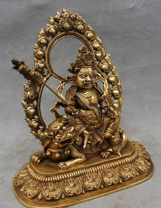 8 Tibet Brass Buddhist Joss Vaishravana Buddha Ride Lion Protector Deity Statue8 Tibet Brass Buddhist Joss Vaishravana Buddha Ride Lion Protector Deity Statue