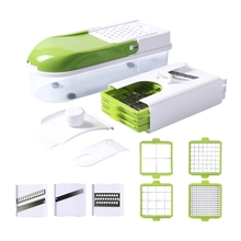 Manual Stainless Steel Slicer Vegetable Kitchen Tool Multi-Function Replaceable Slice Cutter Green + White