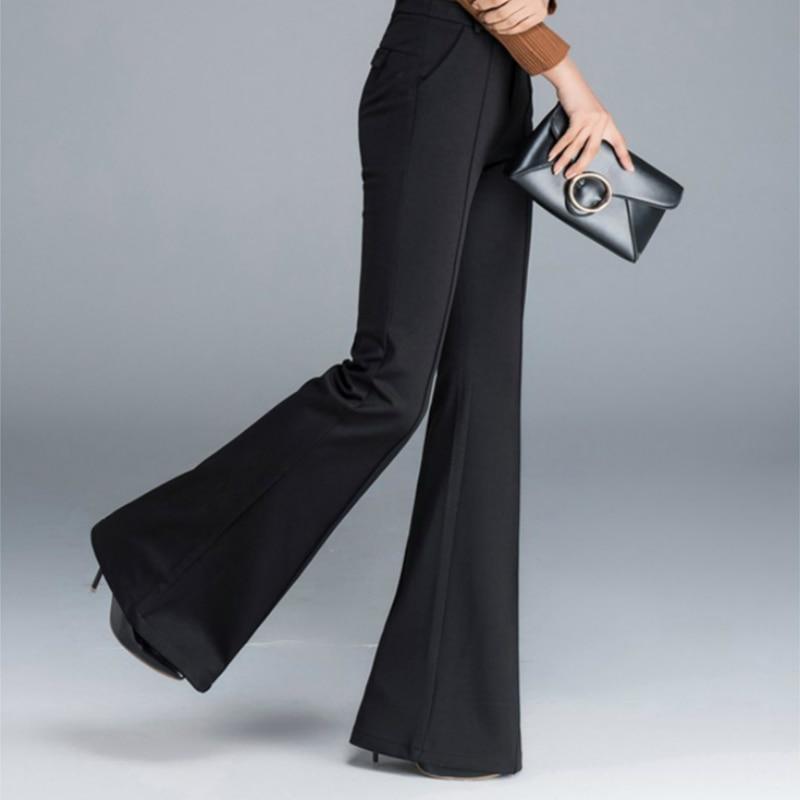 Niñas Mujeres Alta black Casual Nuevo Otoño Black E Ropa 2018 Cintura A B Invierno Flare Señora Oficina Moda Pantalones qYxvTPw